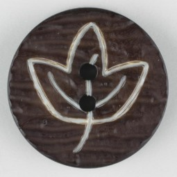 Modeknopf Blatt - BRAUN - Größe: 28mm