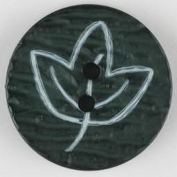 Modeknopf Blatt - GRÜN - Größe: 28mm