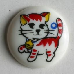 Kinderknopf Katze - WEISS - Größe: 15mm