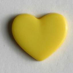 Kinderknopf Herz - GELB - Größe: 13mm
