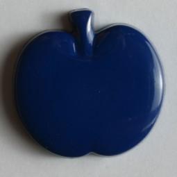 Kinderknopf Apfel - BLAU - Größe: 18mm
