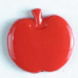 Kinderknopf Apfel - ROT - Größe: 14mm
