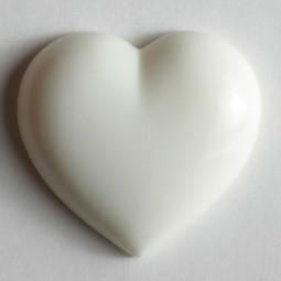 Kinderknopf Herz - WEISS - Größe: 11mm