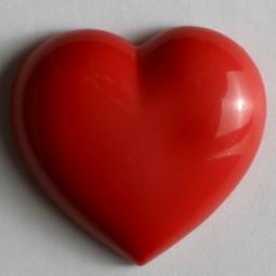 Kinderknopf Herz - ROT - Größe: 20mm