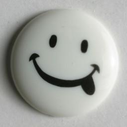 Kinderknopf Smiley - WEISS - Größe: 18mm