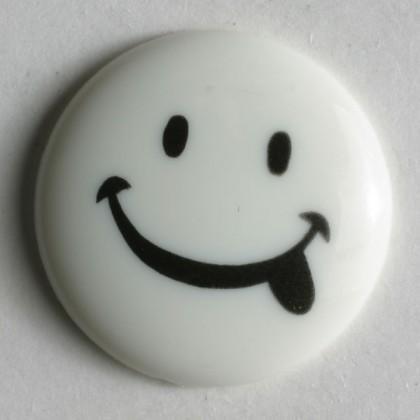 Kinderknopf Smiley - WEISS - Größe: 15mm