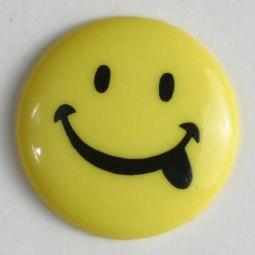 Kinderknopf Smiley - GELB - Größe: 15mm