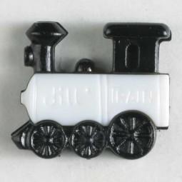 Kinderknopf Eisenbahn - WEISS - Größe: 20mm