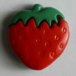 Kinderknopf Erdbeere - ROT - Größe: 15mm