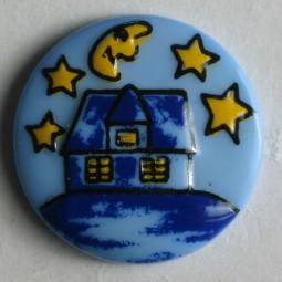 Kinderknopf Nacht - BLAU - Größe: 18mm