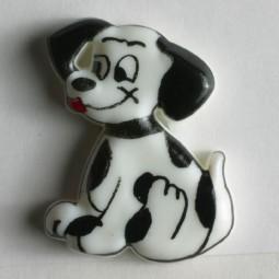 Kinderknopf Hund - WEISS - Größe: 23mm