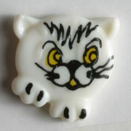 Kinderknopf Katze - WEISS - Größe: 20mm