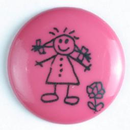 Kinderknopf Strichmännchen - PINK - Größe: 15mm