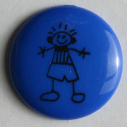 Kinderknopf Strichmännchen - BLAU - Größe: 15mm