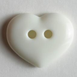 Kinderknopf Herz - WEISS - Größe: 15mm