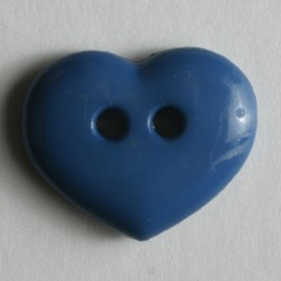 Kinderknopf Herz - BLAU - Größe: 15mm
