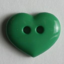 Kinderknopf Herz - GRÜN - Größe: 15mm