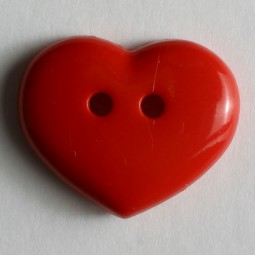 Kinderknopf Herz - ROT - Größe: 18mm