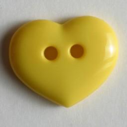 Kinderknopf Herz - GELB - Größe: 15mm