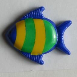 Kinderknopf Fisch - BLAU - Größe: 18mm