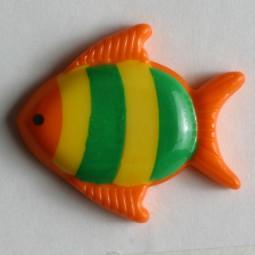 Kinderknopf Fisch - ORANGE - Größe: 18mm
