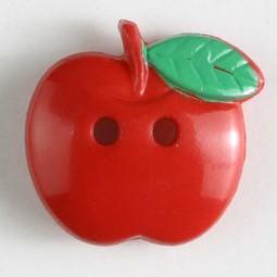Kinderknopf Apfel - ROT - Größe: 19mm
