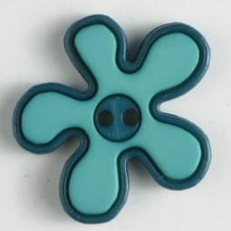 Kinderknopf Blume - DUNKELGRÜN/ HELLGRÜN - Größe: 20mm
