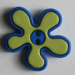 Kinderknopf Blume - BLAU/ LINDGRÜN - Größe: 20mm