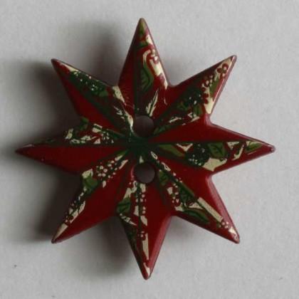 Kinderknopf Weihnachtsstern - ROT - Größe: 20mm