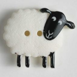 Kinderknopf Schaf - WEISS - Größe: 23mm