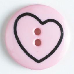 Kinderknopf Herz - PINK - Größe: 18mm