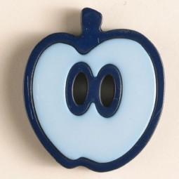 Kinderknopf Apfel - HELLBLAU/ BLAU - Größe: 25mm