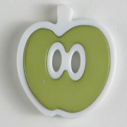 Kinderknopf Apfel - GRÜN/ WEISS - Größe: 25mm