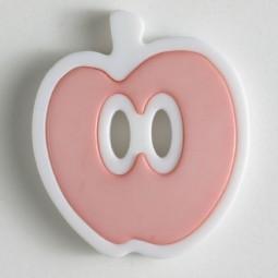 Kinderknopf Apfel - ROSA/ WEISS - Größe: 25mm