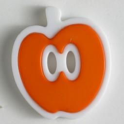 Kinderknopf Apfel - ORANGE/ WEISS - Größe: 25mm