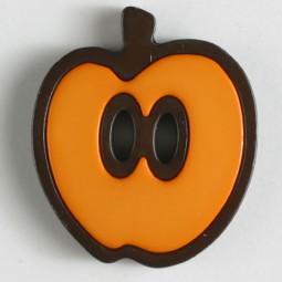 Kinderknopf Apfel - ORANGE/ BRAUN - Größe: 25mm