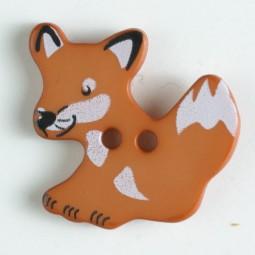 Kinderknopf Fuchs - BRAUN - Größe: 25mm