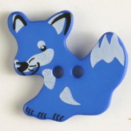 Kinderknopf Fuchs - BLAU - Größe: 25mm
