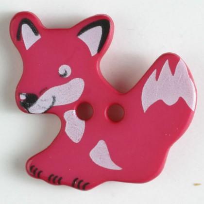 Kinderknopf Fuchs - PINK - Größe: 25mm