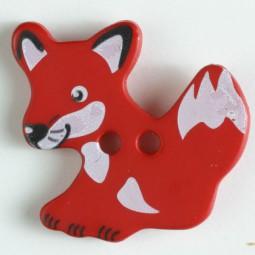 Kinderknopf Fuchs - ROT - Größe: 25mm