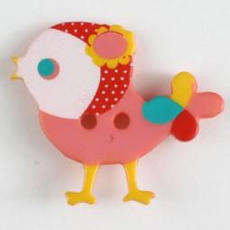 Kinderknopf Vogel - BUNT/ ROSA - Größe: 25mm