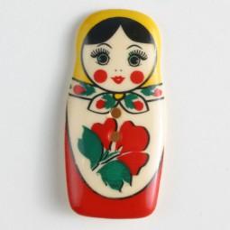 Kinderknopf Matroschka - BUNT/ ROT - Größe: 40mm