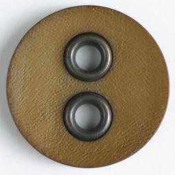 Zweiteiliger Knopf Metall/Kunststoff - BRAUN - Größe: 32mm