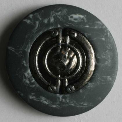 Zweiteiliger Knopf Metall/Kunststoff - GRAU - Größe: 25mm