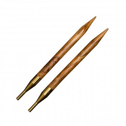 addiClick OLIVENHOLZ Spitzen Austauschbare Rundstricknadeln Maß: 3,5mm/12,5cm