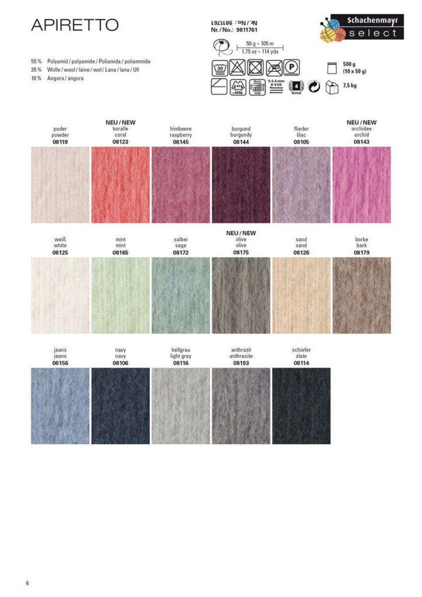 Farbe Salbei apiretto mint 08165 mischwolle material wolle
