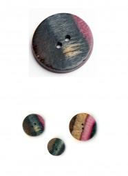 Holzknopf SYMFONIE Lilac Flat Round - Größe: 34mm