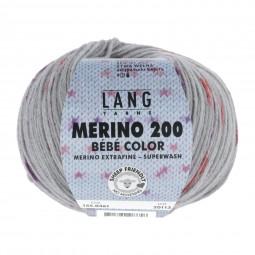 MERINO 200 BÉBÉ COLOR - GRAU/ ROT (0361)